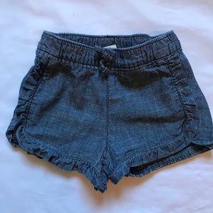Denim baby girl shorts with ruffles